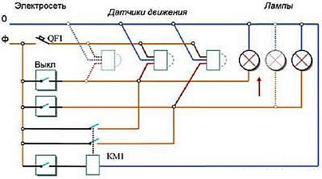 Один из примеров схемы автоматической системы освещения, включающей в себя датчики движения.