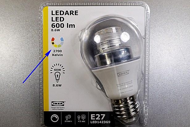 На упаковке лампы или в нанесенной на цоколе или колбе маркировке должна указываться цветовая температура излучаемого света.
