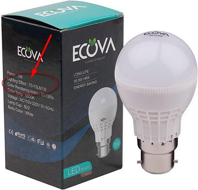 На упаковках некоторых ламп производитель сразу указывает и световую отдачу прибора.