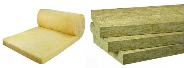 Скатанный в рулон мат из стекловаты (слева), и блоки базальтовой ваты