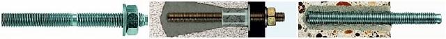 Пример, использования химического анкера: слева – шпилька с резьбой (крепёжный элемент), в центре — отверстие в ячеистом бетоне и закрепленная в нем шпилька, справа — то же самое, но при использовании химического анкера в тяжелом бетоне.
