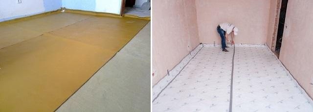 Листовые тонкие шумоизоляционные материалы сразу укладываются с заходом на нижнюю часть стеновых поверхностей.