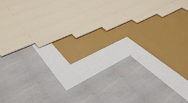 Схема звукоизоляционного «пирога» пола с использованием «Tecsound» и последующей укладкой непосредственно на него ламината или паркета.