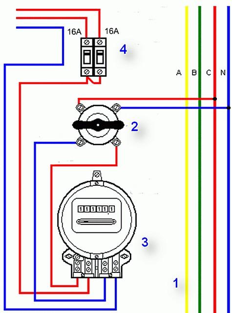 Примерная схема установки пакетного выключателя на вводе в квартиру