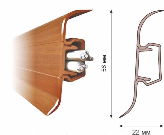 Типичный пример пластикового плинтуса с кабель-каналом внутри. В этом канале можно расположить светодиодную подсветку.