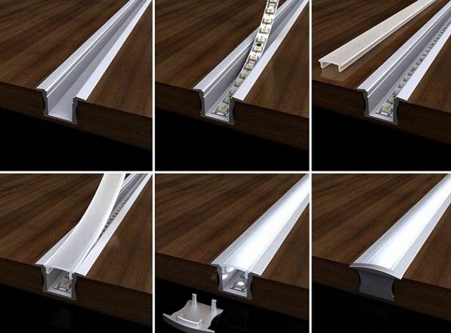 По такому принципу можно создать «светящиеся линии» непосредственно на горизонтальной поверхности пола