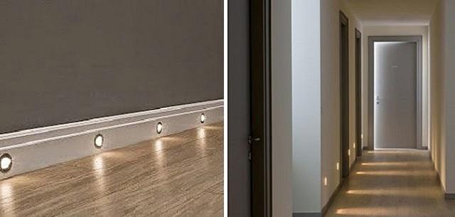 Точечные светильники для подсветки пола, встроенные в плинтус или стену.
