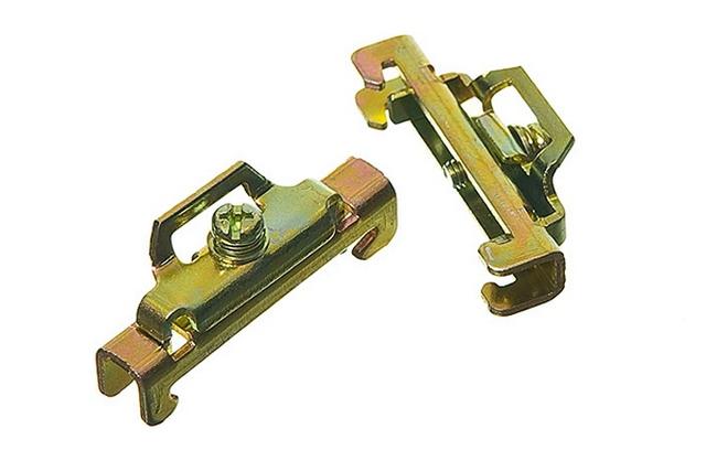 Металлические фиксаторы положения установленного на DIN-рейку прибора