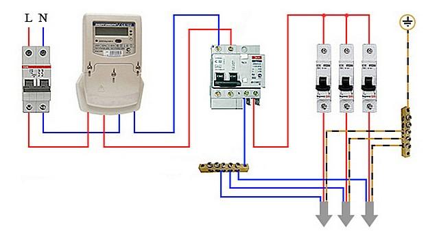 Единственный дифференциальный автомат установлен на вводе сразу после счетчика.