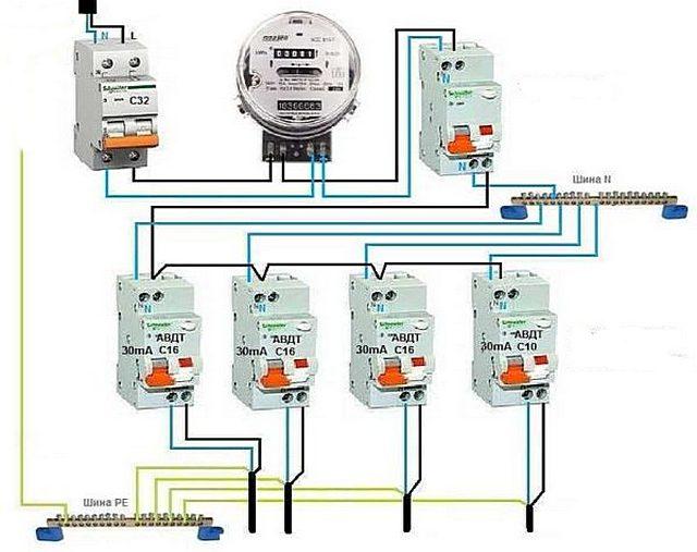 Селективная схема с общим противопожарным УЗО или АВДТ на входе