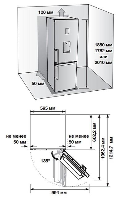 Производители холодильников всегда сопровождают свои модели схемами их правильной установки. И пренебрегать этими правилами – недопустимо!
