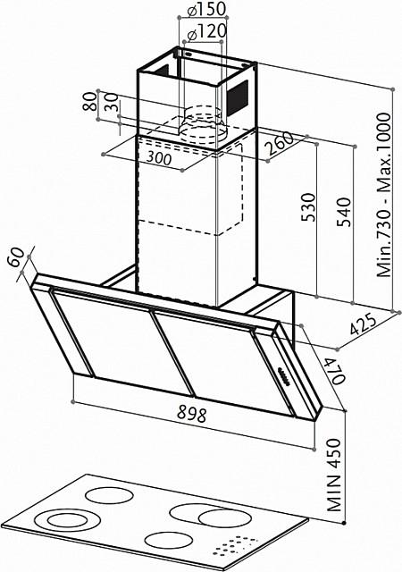 Производитель в инструкции по установке вытяжки можетуказывать и другие рекомендуемые параметры ее расположения. Их и следует придерживаться при монтаже.