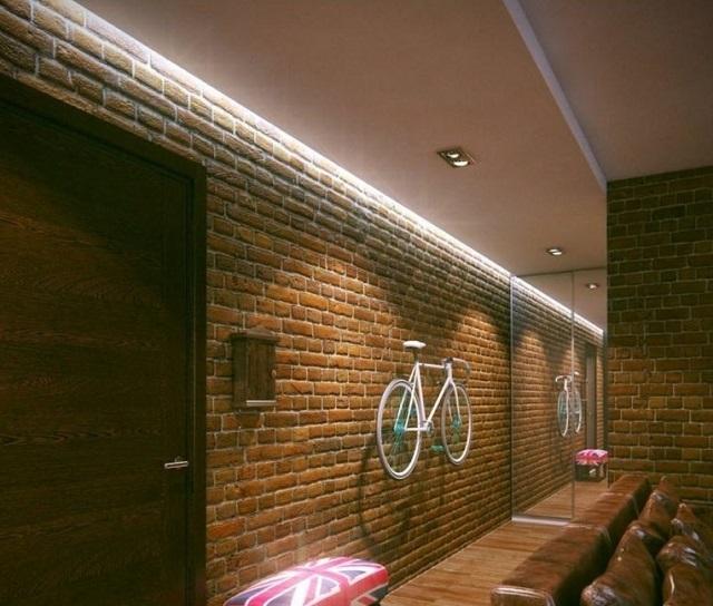 Подсветка потолка в прихожей, оформленной в стиле «лофт».