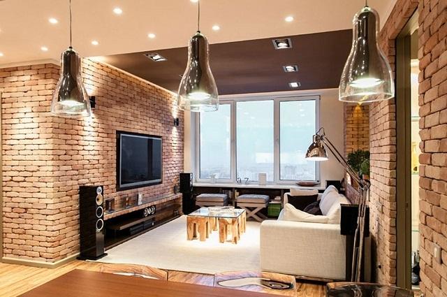 Верхнее точечное освещения небольшого помещения, оформленного под «лофт».