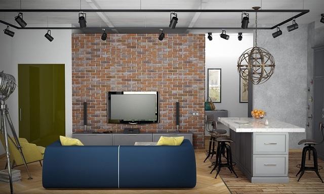 Вариант общего освещения небольшой комнаты, выполненной в стиле «лофт». Рама-консоль, закрепленная на потолке, проходит по всему периметру помещения.