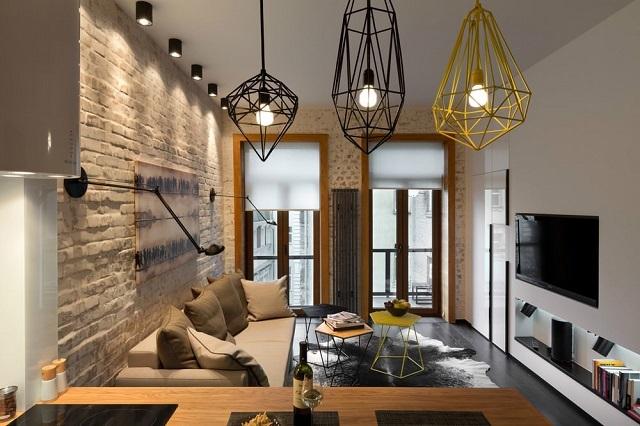 Выдержанные в стиле «лофт» светильники в узкой вытянутой комнате