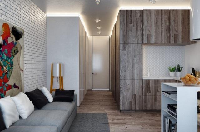 Характерное для «лофта» объединение нескольких различных по предназначению зон в одном помещении.