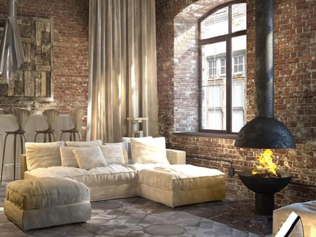 В помещениях стиля «лофт» для зонирования пространства обычно используются массивные предметы мебели