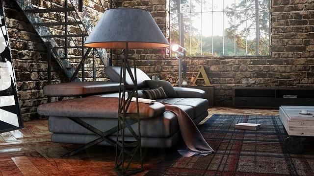 Торшер на сварной стальной подставке – что может быть лучше для стиля «лофт»?