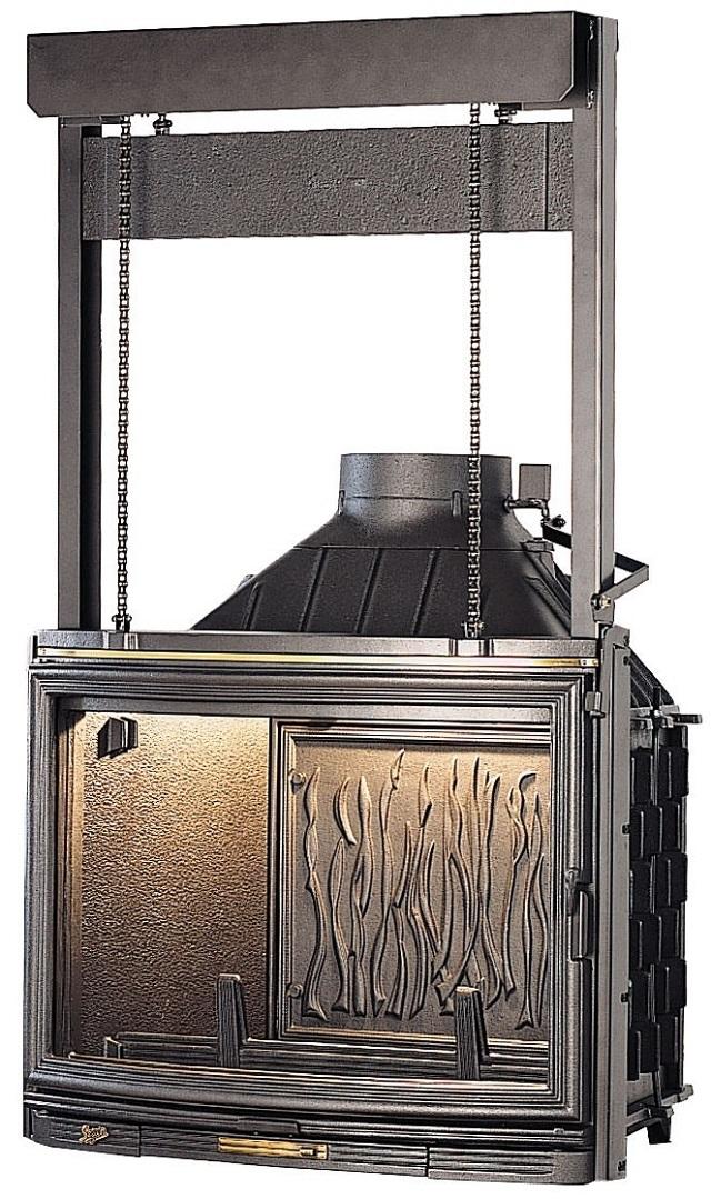Конструкция гильотинной дверцы на подвесах.