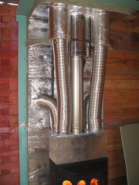 Разводка каналов воздушного отопления от камина по соседним комнатам