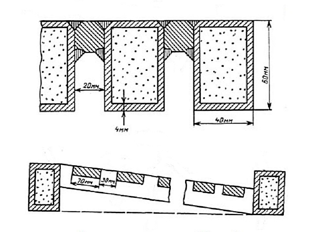 Схема колосниковой решетки типа КРОК.