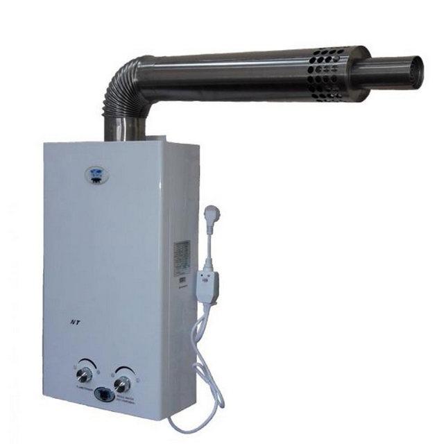 Газовая колонка с закрытой камерой сгорания и выводимым горизонтально через стену коаксиальным дымоходом.