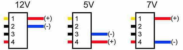 С Molex-разъема можно снять три значения постоянного напряжения.