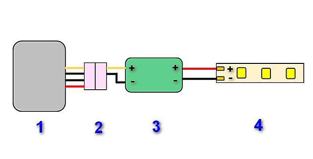 При подключении монохромной ленты через диммер схема становится примерно такой