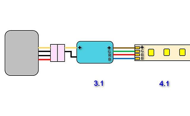 Схема с особенностями подключения светодиодной ленты RGB
