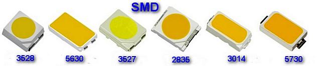 Светодиоды SMD различных типоразмеров – именно они массово используются для производства светодиодных лент.
