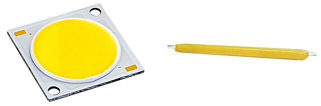 Ровным и мощным излучением могут похвастать современные светодиоды типа COB (слева) и COG (справа).