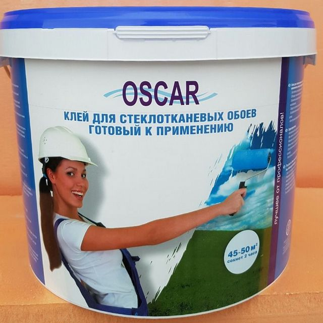 Специальный клей для стеклотканевых обоев в готовом к применению варианте.