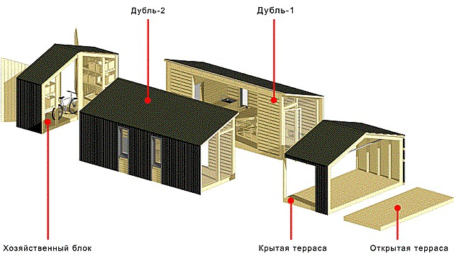 Модульный вариант каркасного дома.