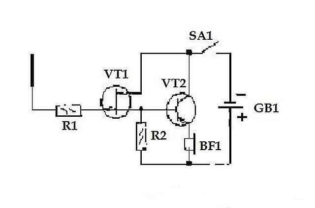 Более совершенная схема самодельного детектора скрытой проводки