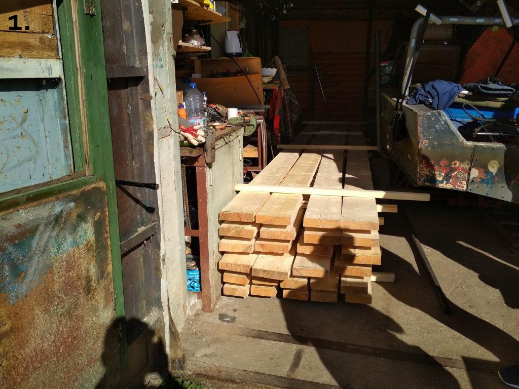 Места в гараже мало,поэтому завозил доски частями