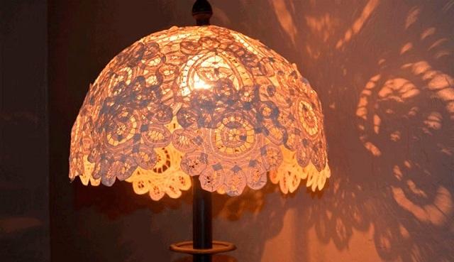Вариант самодельного абажура для настольной лампы или торшера.