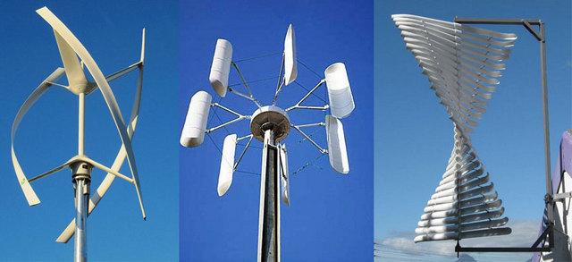 Несколько примеров ветряков с вертикальной осью вращения