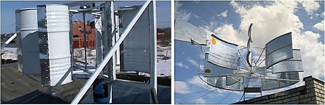 Примеры самодельных ветряков вертикального расположения – изготовлены из бочек и из металлических оцинкованных листов.