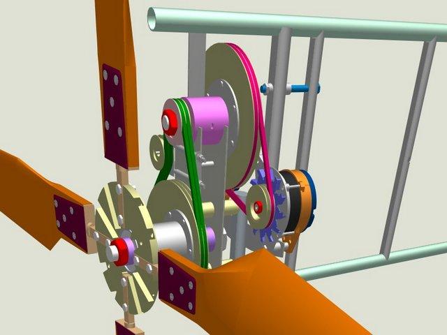 Один из примеров повышающей передачи вращения от ветряка на генератор.