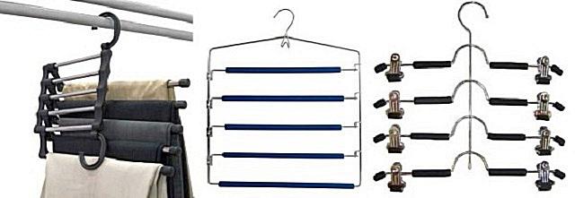 Многоярусные вешалки удобны тем, что каждая из них может обеспечивать аккуратное хранение нескольких брюк или юбок.