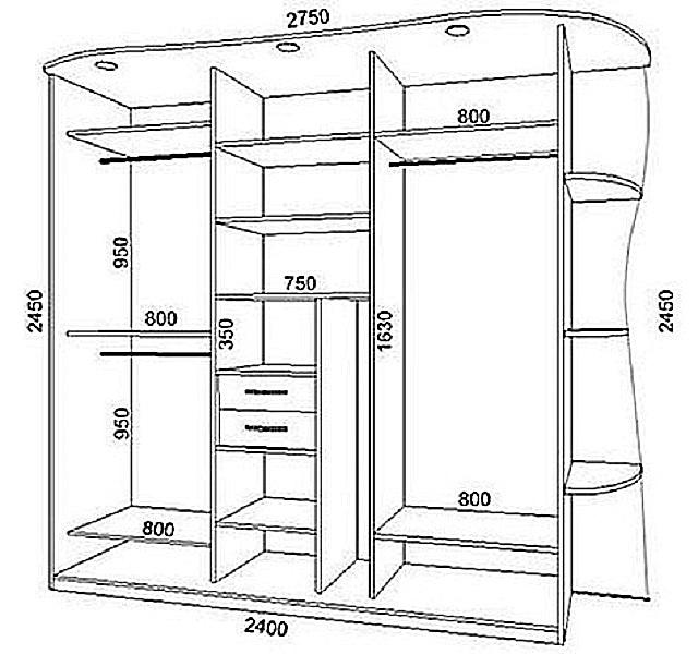 Пример чертежа пристенного варианта гардеробной.