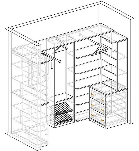 Вариант проекта гардеробной с примерными габаритами в плане 1200×2500 мм.