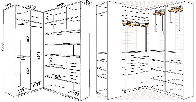 Такой чертеж может быть применен для создания шкафов или же стеллажей для гардеробной.