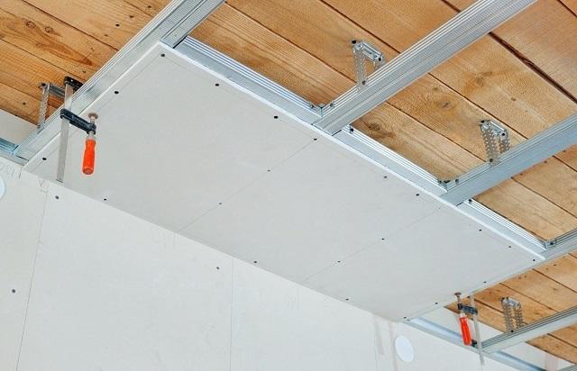 Обустройство подвесного гипсокартонного потолка.