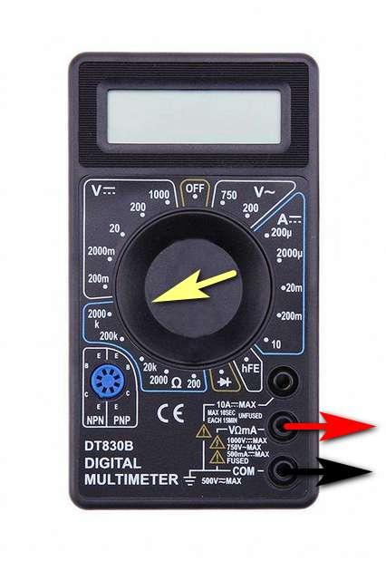 Подключение проводов и одно из положений переключателя (на максимальном диапазоне) при измерении электрического сопротивления мультитестером DT830.