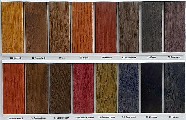 Цветовая палитра универсальной морилки компании «Holzfarbe BORMA WACHS».