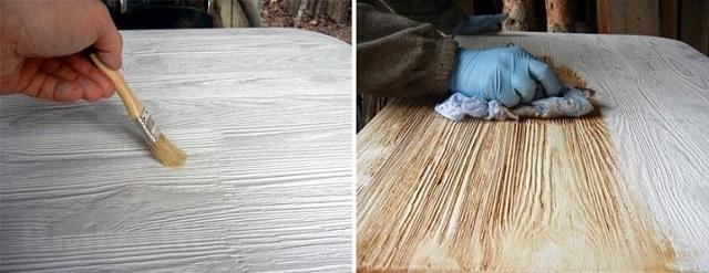 Нанесение морилки на брашированную поверхность древесины.