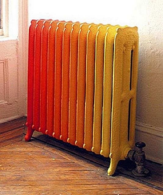 Окрашивание радиатора в стиле «амбре».