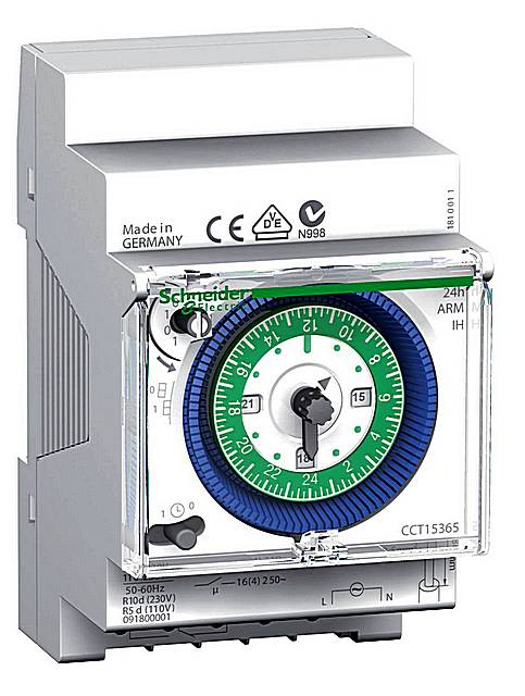 Электромеханическое аналоговое реле времени в корпусе под установку на стандартную DIN-рейку. Даже внешне некоторые приборы такого предназначения напоминают обычные часы.